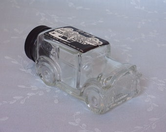 1970s Vintage Figural Clear Glass Candy Container or Bottle. 1929 Ford Model Automobile w Original Black Plastic Cap by Fresh Pak. uipb ea65