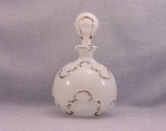 Opaline Milk Glass Cologne Bottle. Antique Gillinder Opal Perfume, Boudoir, Vanity, Barber, Bureau, or Scent Decanter w Orig Stopper. Sada