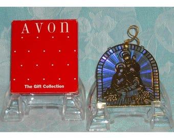 1980s Christmas Ornament Decoration. Vintage Avon Christmas Reflections Ornaments, The Gift Collection, Nativity Scene w Baby Jesus. pdicu