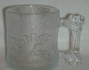 Vintage Bedrock Mug. 1994 RocDonald Pre-Dawn. McDonalds Promotional Flintstones Cartoon Coffee Cup. Glass w Prehistoric Bone Handle. nLfbu