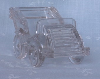 1890s Figural Clear Glass Trinket Container. Antique Automobile Novelty, Horseless Carriage, or Victorian Roadster. 5 Inches Long. udda