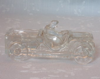 1940s Glass Candy Container. Vintage Toy Scout Car. Millstein Jeep, Marked Willy's on Center of Hood w 3 Lines on Each Side. Ucgc ea350