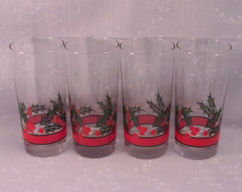 4 Libbey Crystal Original Vintage Holly & Berries Glass High Ball, Cooler, Water, or Iced Tea Tumblers in Discontinued Pattern. Set A. reka