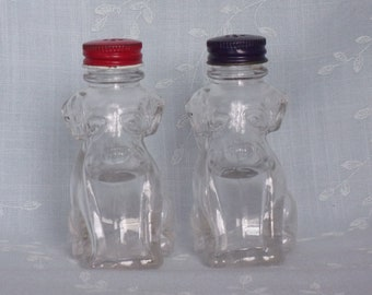Vintage Glass Candy Containers and then Patriotic Salt & Pepper Shaker Bottles w Stough Mark, and Blue and Red Screw Top Caps. Ucta dh36ns