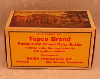 1 Lb Vintage Butter Box. Waxed Cardboard Advertising. Tepco Brand 1 Pound Never Used Food Dairy Container. Morristown, Tennessee TN. Sebx6