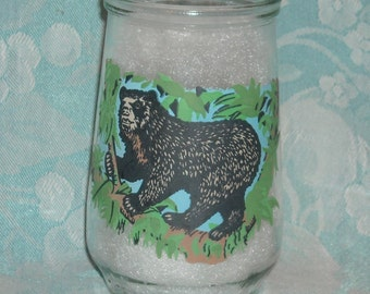 Vintage Welch's Endangered Species Collection 1995 Jelly Glass. World Wildlife Fund Tumbler. WWF Promo Jar. # 10, Spectacled Bear. pj1bu