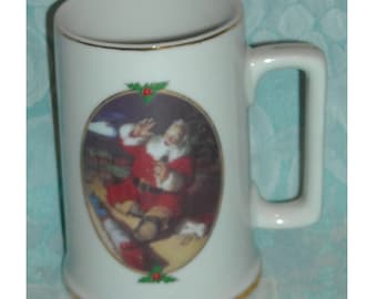 Christmas Vintage Mug. Ultimate Source Coca Cola Season's Greetings 1996 Collector Edition Stein w Haddon Sundblom Art of Santa Claus. Pd3cu