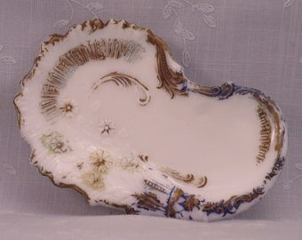 Antique Milk Glass Dresser Tray. Victorian Opaline Novelty Shaped Vanity Plate w Embossed Daisies & Scrolls for Trinkets or Jewels. Rgtb