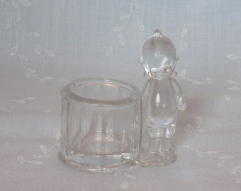 1970s Clear Pressed All Glass Candy Container or Bank. Vintage Kewpie Doll by the Barrel w Pointed Curlicue on Top of Head. Ufja ea359r
