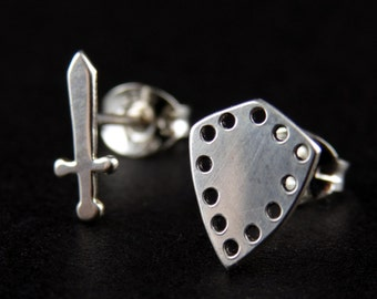 Sterling Silver Sword and Shield Earrings, Knight's studs