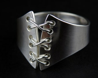 Sterling Silver Corset Lace-Up Ring, Hand-Crafted Ring
