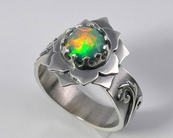 Opal Silver Ring, Gemstone set in Lotus