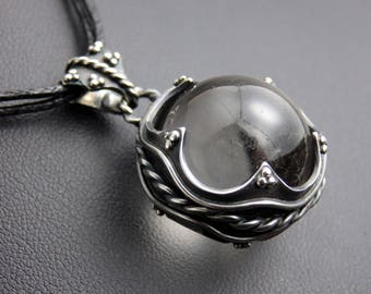 Crystal ball pendant etsy crystal ball pendant sterling silver crystal sphere necklace aloadofball Image collections