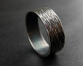 Darkened Wrought Sterling Silver Ring