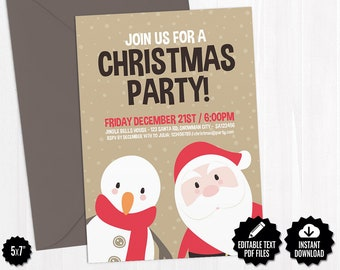 Self Editable Christmas Card Template Cute Merry Christmas Etsy