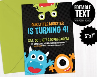 editable little monster birthday invitation template etsy