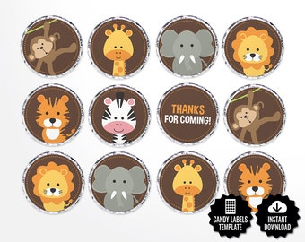 Safari Candy Labels Printable Round Stickers 0 75 Circles Etsy