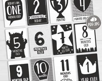 Milestone Stickers an Alternative to Milestone Cards Monochrome Alternative Funny