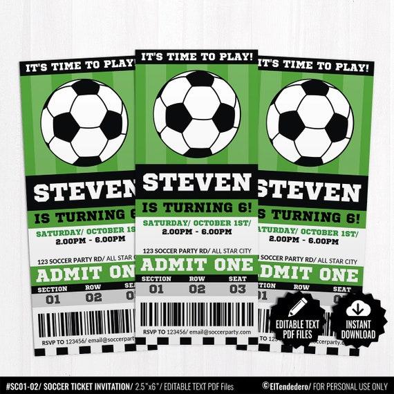 Invitación Editable Fútbol Ticket Entrada Fiesta Equipo Fútbol Cumpleaños Infantil Tarjeta Imprimible Deportes