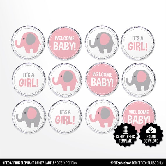 graphic regarding Printable Round Labels referred to as Child Shower Sweet Labels. Printable Spherical Stickers. Crimson and Gray Elephant 0.8 inch Circles. Spherical Illustrations or photos Collage Sheet. Female Kiss stickers