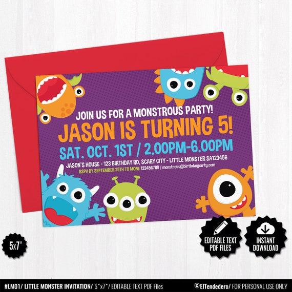 Editable Invitación Editable Cumpleaños Monstruito Tarjeta Imprimible Invitación Fiesta Cumpleaños Infantil Primer Cumpleaños Bebé