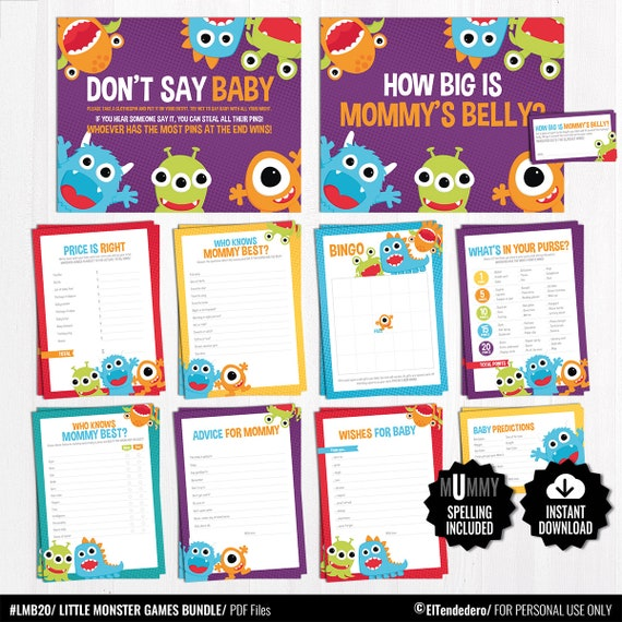 Little Monster Baby Shower Games Package Printable Game Etsy