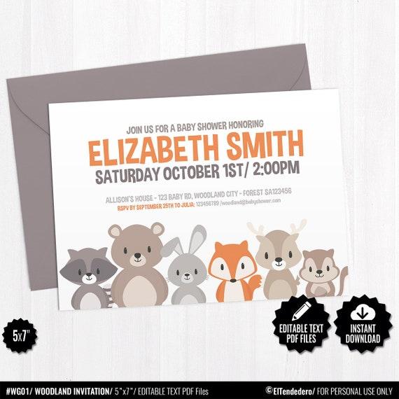 Editable Invitación Baby Shower Bosque Tarjeta Imprimible Invitación Animales Fiesta Premamá Celebración Embarazo Nacimiento Bebé