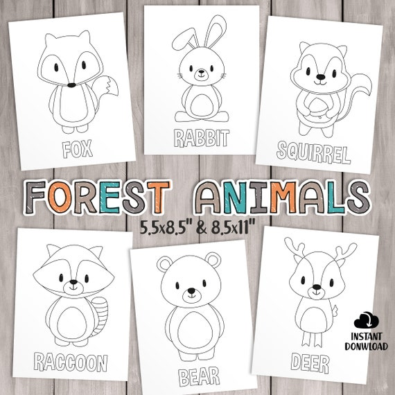 PRINTABLE Woodland Coloring Pages. Kids Party Games Forest