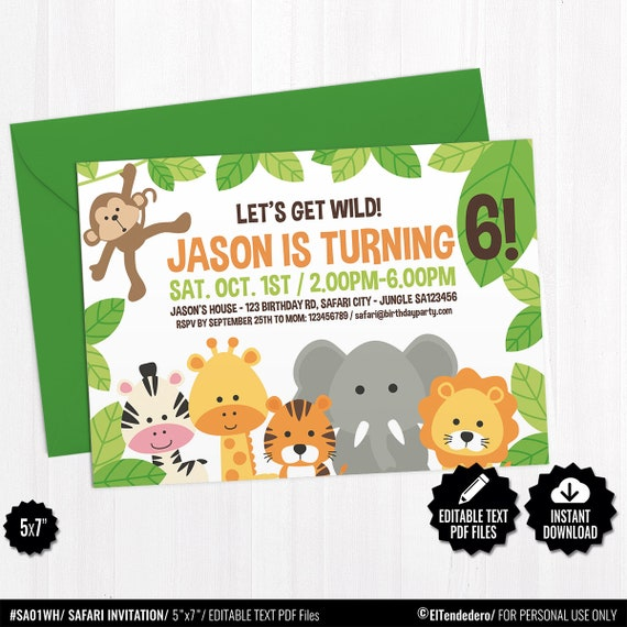 Birthday Invitation Template Safari 5