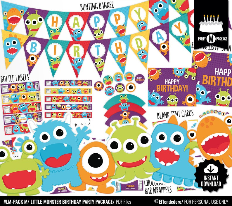 Little Monster Birthday Decorations Package Printable Kids