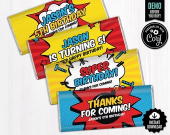 SELF EDITABLE Superhero Chocolate Bar Wrappers. Kids Birthday Chocolate Bar Wraps. Printable Party favors. Comic Book Large Candy Bar Labels