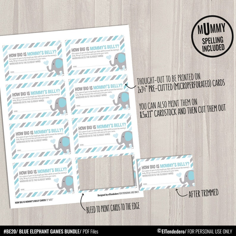Blue and Gray Baby Shower Activities Blue Elephant Baby Shower Games Package Printable Game Cards Funny Baby Games Baby Boy