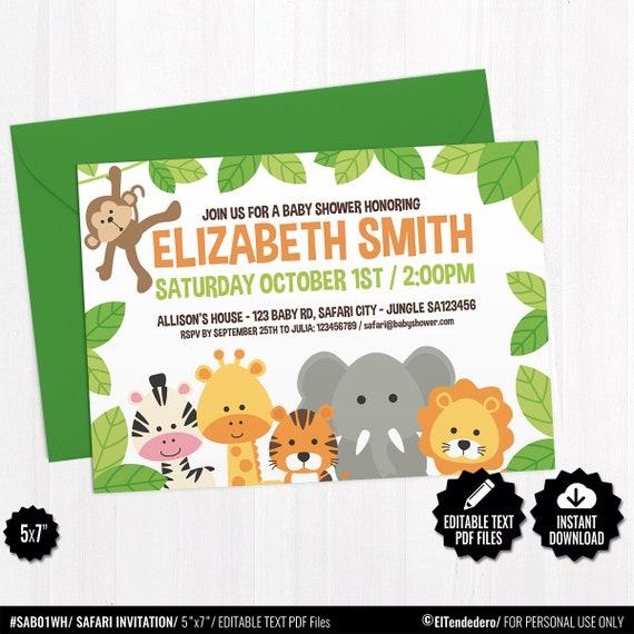 Editable Invitación Baby Shower Safari Tarjeta Imprimible Selva Invitación Fiesta Premamá Bebé Celebración Embarazo Nacimiento Bebé