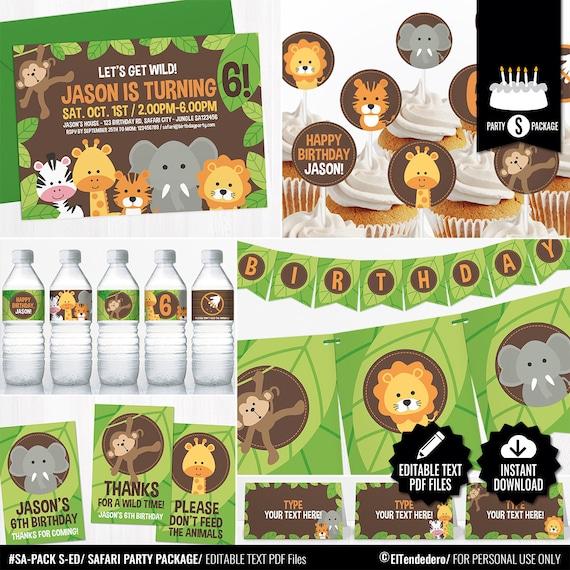 Decoración Cumpleaños Safari Pack Imprimible Fiesta Cumpleaños Infantil Selva Celebración Primer Cumpleaños Bebé Jungla Diy Editable