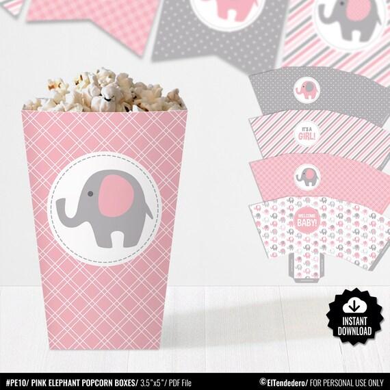 Cajas Palomitas Elefantes Decoración Mesa Baby Shower Rosa y | Etsy