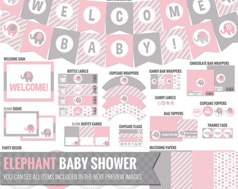 Pink Elephant Baby Shower Decorations - Printable Pink and Gray Baby Shower Package - Cute Baby Girl Shower Decor. Digital Download