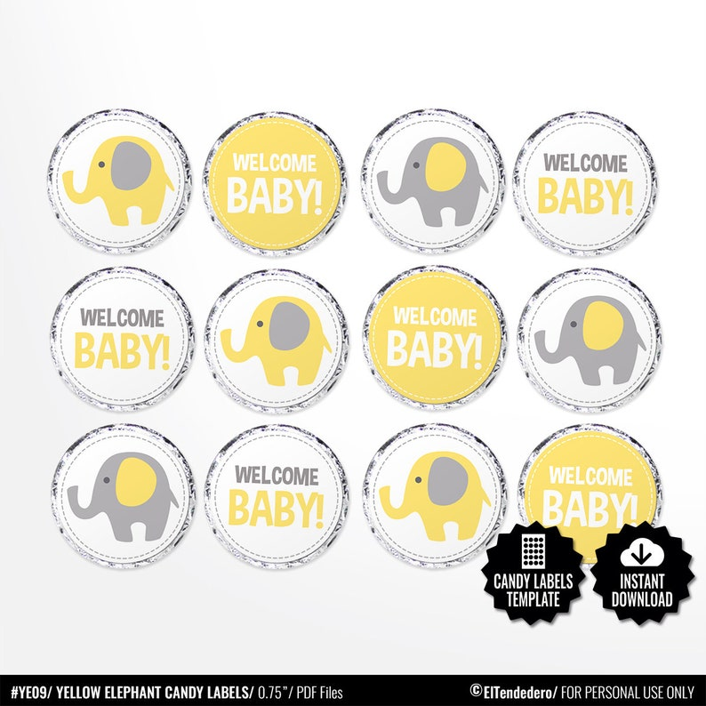 photograph regarding Printable Round Stickers named Child Shower Sweet Labels. Printable Spherical Stickers. Yellow and Gray Elephant 0.8 inch Circles. Spherical Illustrations or photos Collage Sheet. Kiss stickers