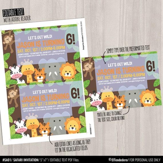 Editable Invitación Editable Cumpleaños Safari Tarjeta Imprimible Selva Invitación Fiesta Cumpleaños Infantil Primer Cumpleaños Jungla