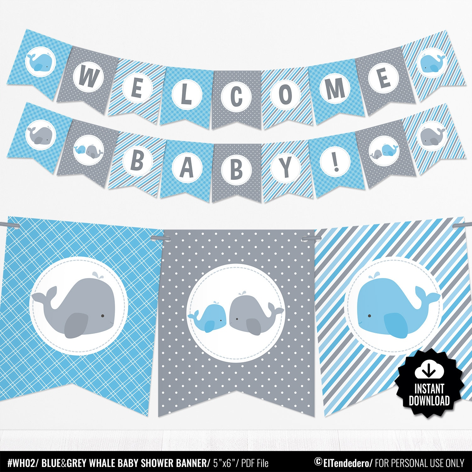 Whale Baby Shower Banner Boy Baby Banner Blue And Gray Etsy