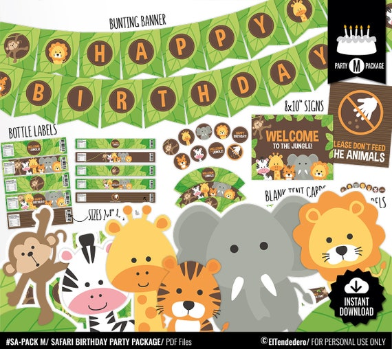 Safari Birthday Decorations Package Printable Jungle Theme Kids Birthday Party Decor Funny Gender Neutral First Birthday Digital Download