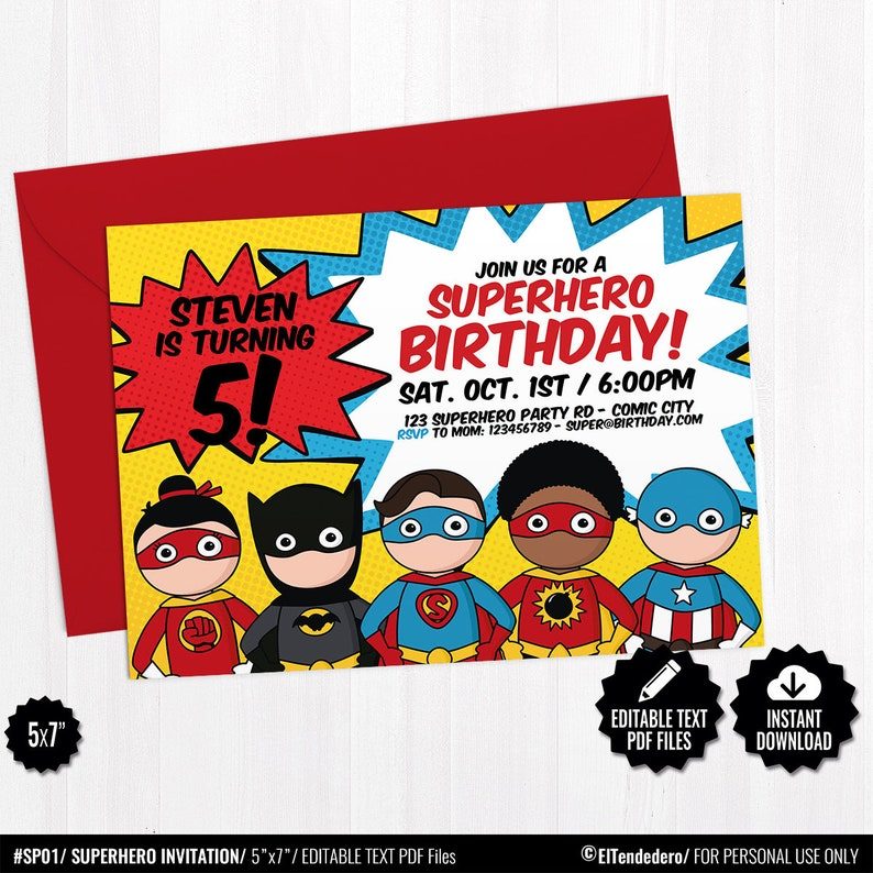 picture regarding Printable Superhero Invitations referred to as Superhero Invitation Template - Printable Superheroes Comedian E-book Topic Invite - Children Birthday Social gathering Editable Invitation - Immediate Down load