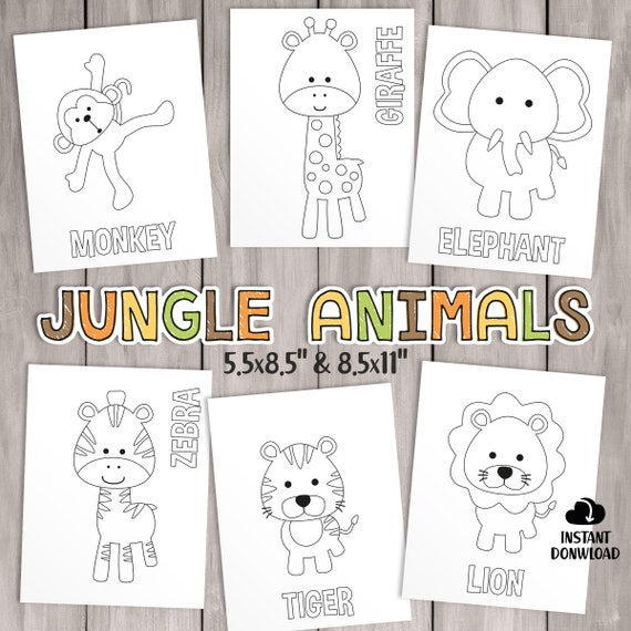 PRINTABLE Safari Coloring Pages. Kids Party Games Jungle
