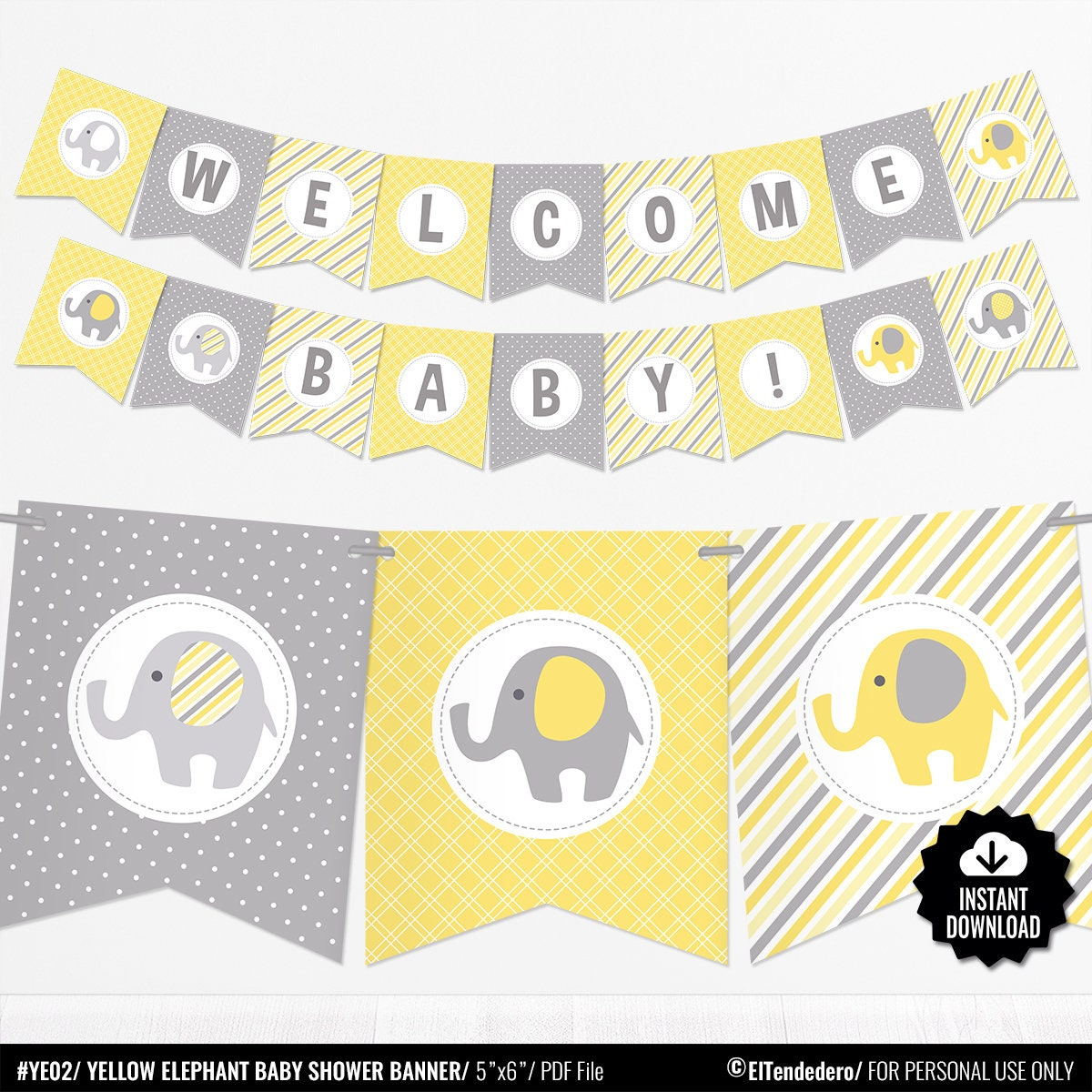Yellow Elephant Baby Shower Banner Baby Banner Yellow and   Etsy