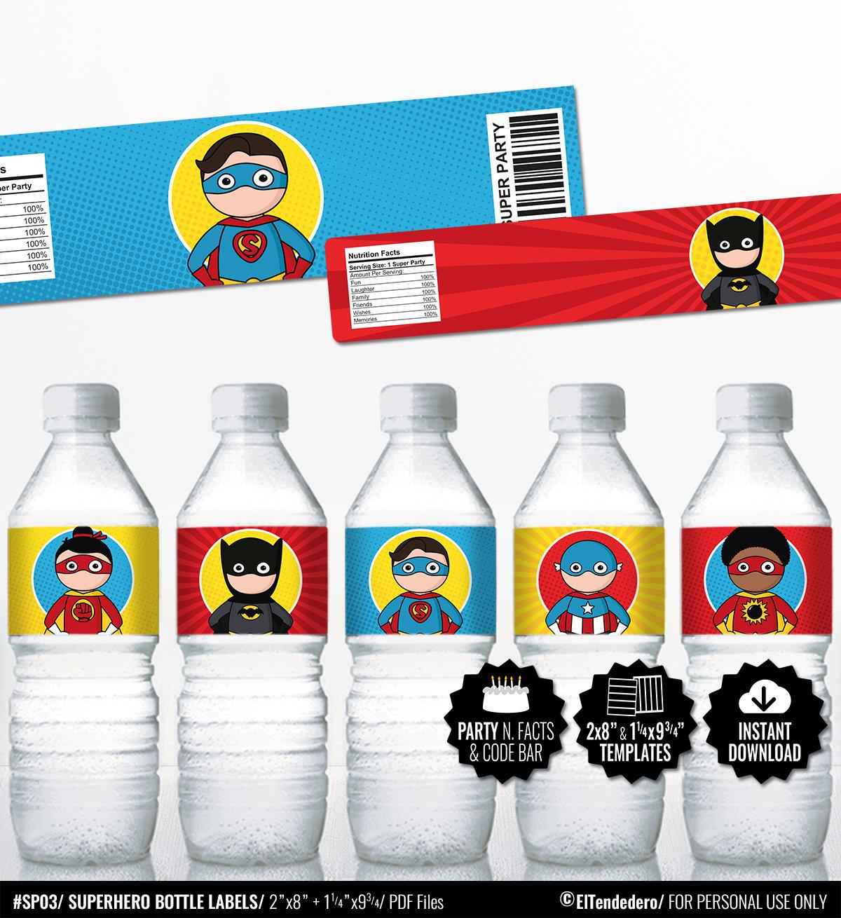 superhero water bottle labels  comic book birthday bottle