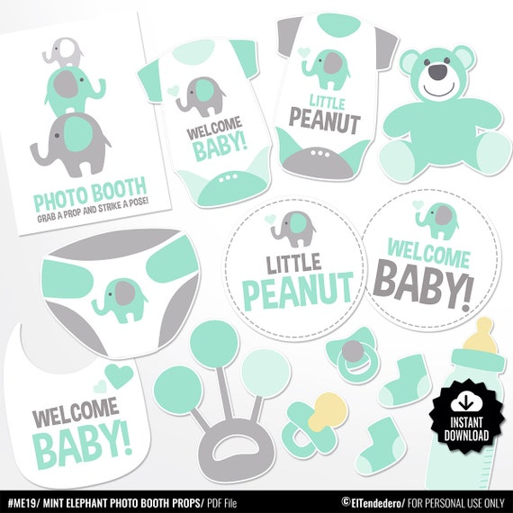 Baby Shower Photo Booth Props Mint Elephant Photo Props Etsy