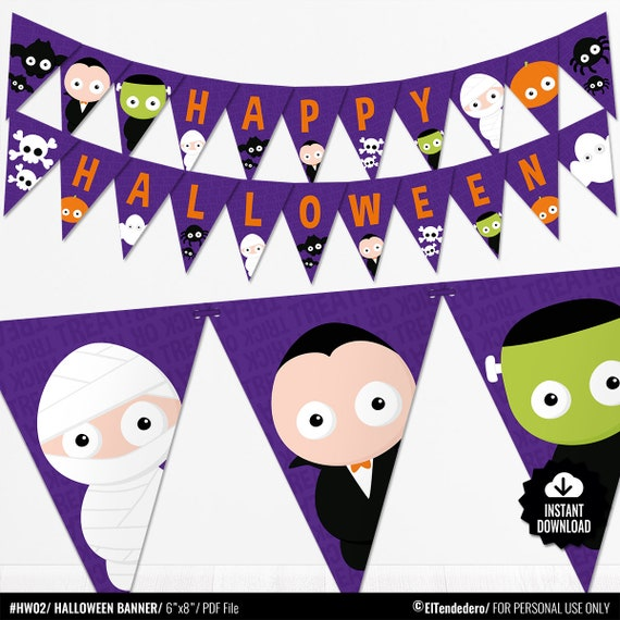 Bunting banner for Halloween party banner kids decor Printable PDF file
