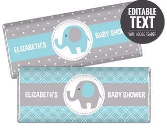 Elephant Chocolate Bar Wrappers - Blue and Gray Chocolate Bar Wraps - Printable Boy Baby Shower Favors - Editable Large Candy Bar Labels