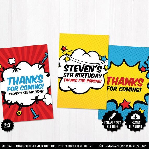 Superhero Comic Party Thank You Cards