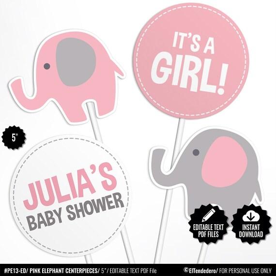 EDITABLE/ Círculos Elefante Rosa Centros de Mesa Baby Shower | Etsy