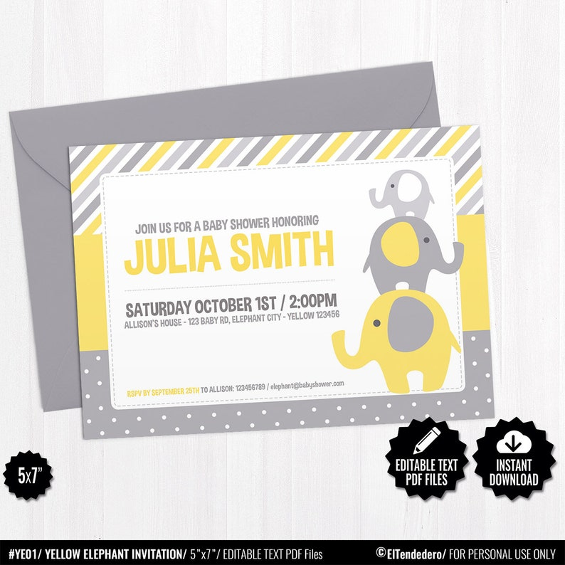 Editable Invitacion Baby Shower Elefante Amarillo Invitacion Imprimible Fiesta Premama Bebe Neutro Celebracion Embarazo Nacimiento Bebe